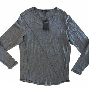 Robert Barakett GREY Crew Long Sleeve Slub T-Shirt